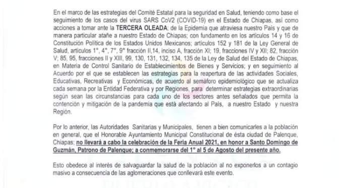 SANTO DOMINGO DE GUZMÁN, SE QUEDA SIN SU FERIA ANUAL EN PALENQUE, !CANCELADA!